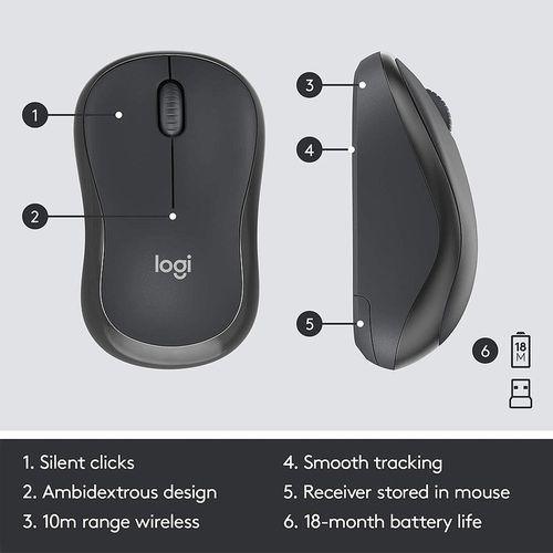 cumpără Logitech Wireless Combo MK295 Silent, Multimedia Keyboard & Mouse, Graphite,USB, Retail, 920-009807 în Chișinău