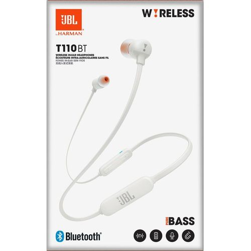 купить JBL T110BT / Bluetooth In-ear headphones with microphone, BT Type 4.0, Dynamic driver 8.6 mm, Frequency response 20 Hz-20 kHz, 3-button remote with microphone, JBL Pure Bass Sound, Battery Lifetime (up to) 6 hr, White в Кишинёве