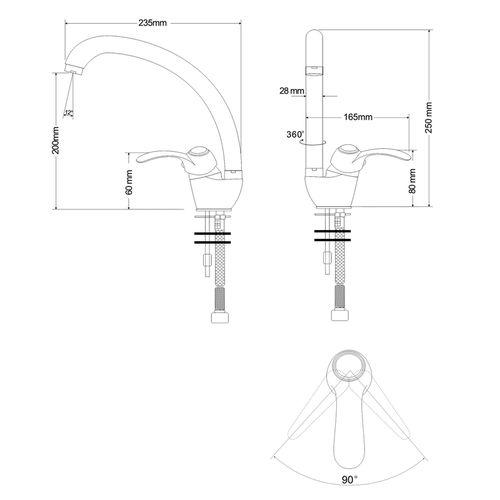 FORTUNA смеситель для кухни однорычажный, ручка сбоку, хром 40мм