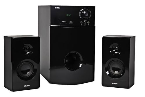 "cumpără Speakers SVEN MS-1820 Black,  2.1 / 18W + 2x11W RMS, FM-tuner, USB & SD card Input, Digital LED display, remote control, all wooden, (sub.3.6"" + satl.2.25"") în Chișinău"