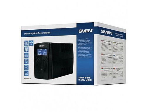 купить SVEN Pro 650 Line-Interactive, 650VA/390W, AVR, LCD, Input 175~280V, Output 220V +- 10%, USB, RJ45 (UPS, sursa neintreruptibila de energie/ ИБП источник бесперебойного питания) в Кишинёве
