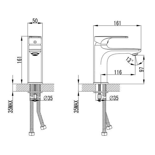 BILINA BN смеситель для умывальника, никель, 35 мм