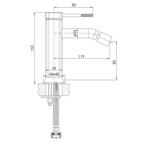 BRENTA cмеситель для биде, никель, 25 мм  (ванная комната)