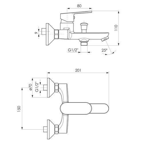 LASKA cмеситель для ванны, сатин, 35 мм (ванная комната)