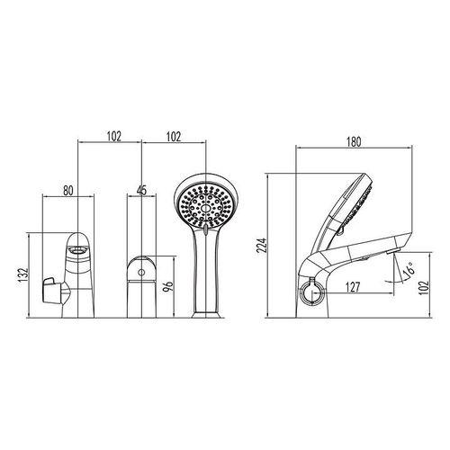IMPRESE KRINICE смеситель для ванны, врезной, на три отверстия, хром, 35 мм (ванная комната)