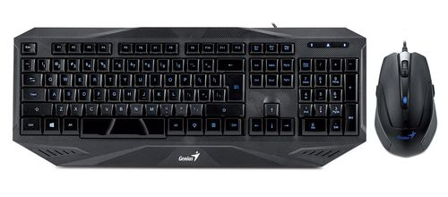купить Keyboard & Mouse Genius KM-G230 Backlight Gaming Desktop, Keyboard (Blue backlight, full size) + Mouse (6 buttons, 500/1000/1500/2000dpi, 21 customizable macro keys, Rubber finish grip, 1.8 m braided mouse cable), Gold-plated USB connector, Black в Кишинёве