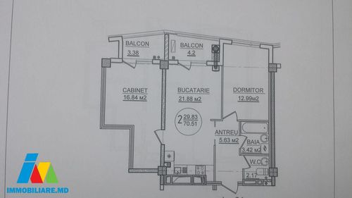 Apartament cu 2 camere, sect.Rîșcani, str.Bogdan Voievod.