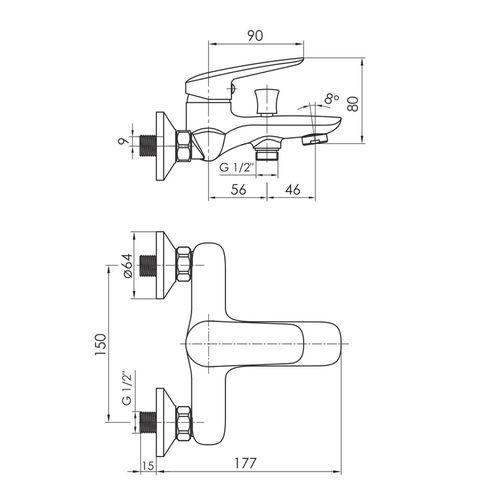PRAHA new смеситель для ванны, хром, 35 мм (ванная комната)