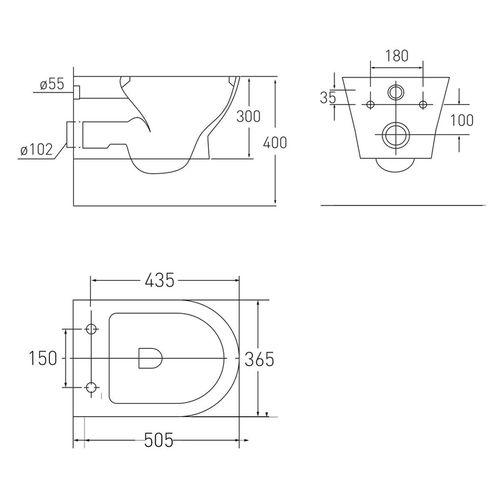 Комплект: FIESTA Rimless унитаз подвесной, сиденье SLIM + VOLLE MASTER NEO инсталляция для подвесного унитаза с клавишей смыва, хром
