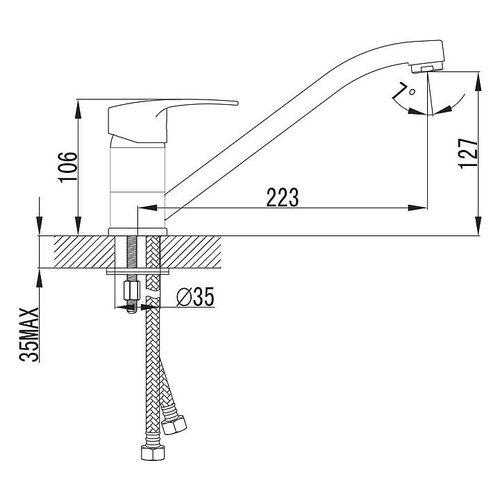 IMPRESE ESENIK смеситель для кухни, хром, 35 мм (кухня)