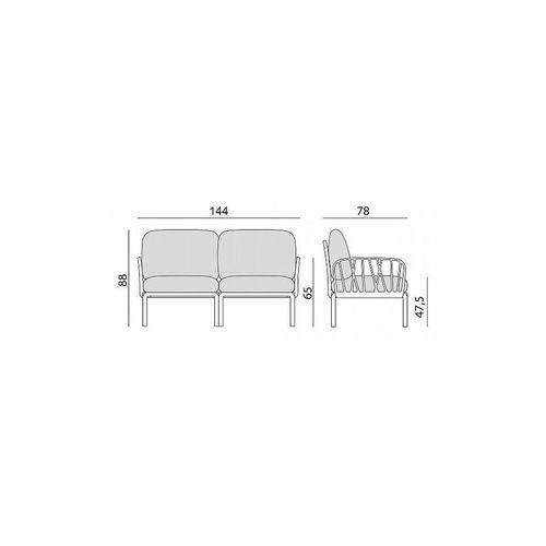 купить Диван с подушками Nardi KOMODO 2 POSTI AGAVE-grigio (Диван с подушками для сада и терас) в Кишинёве