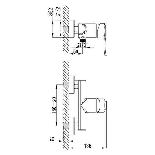 IMPRESE NOVA VLNA смеситель для душа, хром, 40 мм (ванная)