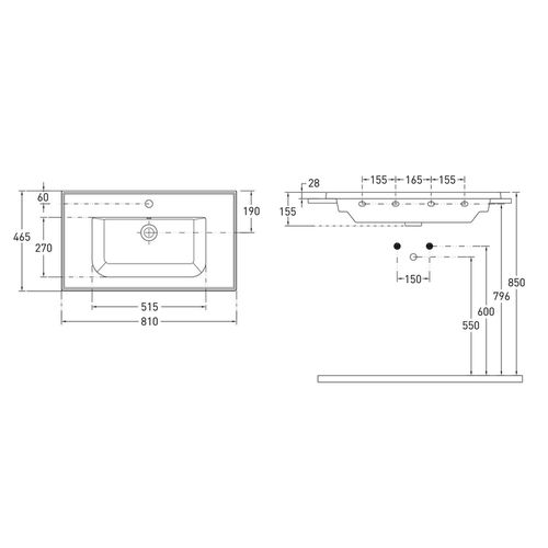 EO комплект мебели 80см серый: тумба подвесная, 2 ящика + умывальник накладной арт 15-88-080