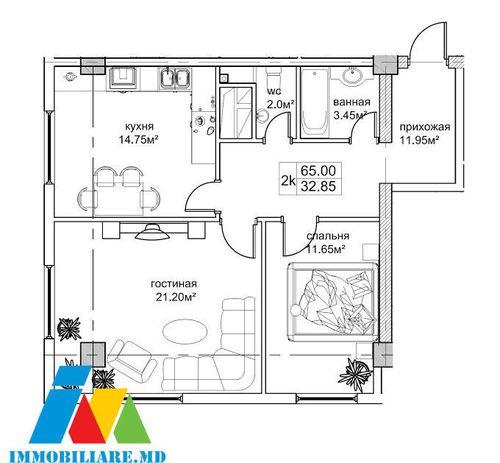 Apartamente cu 2 camere, sectorul Botanica, str.Tudor Strişcă.