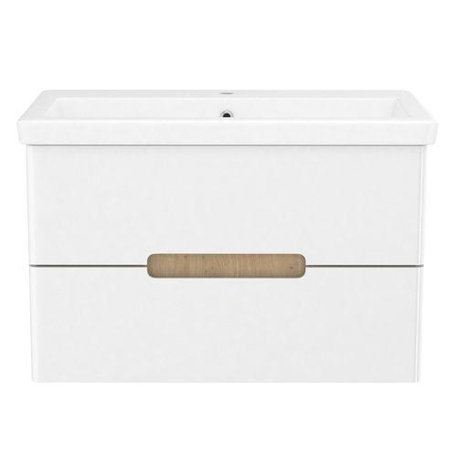 PUERTA комплект мебели 80см белый: тумба подвесная, 2 ящика + умывальник накладной арт 13-16-018