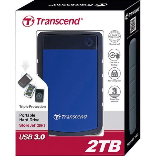 "купить Transcend External 2.0TB 2,5"", Case ""StoreJet 25H3B"" Grey/Blue, Durable anti-shock RUBBER outer case,  Advanced internal hard drive suspension system, One Touch Backup, USB3.0, compatible with Mac OS X в Кишинёве"
