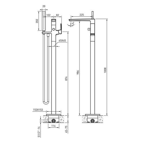 GRAFIKY смеситель для ванны отдельностоящий, хром  (ванная комната)