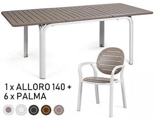 купить Set mobila de terasa masa Nardi ALLORO 140 EXTENSIBLE + 6 scaune Nardi PALMA в Кишинёве