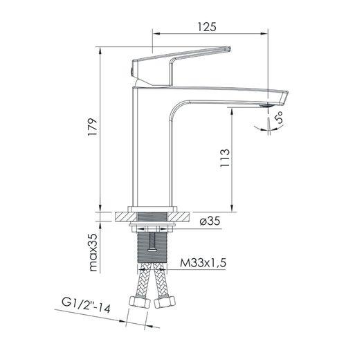GRAFIKY смеситель для умывальника, хром, 35 мм (ванная комната)