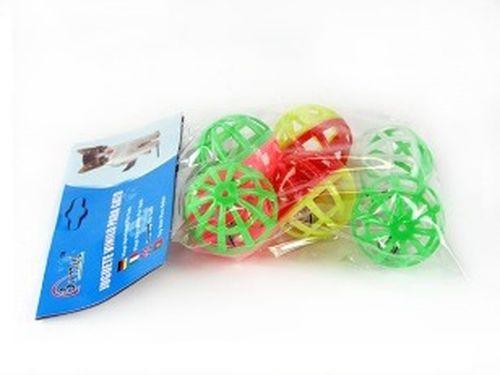 купить Мяч пластмассовый, с бубенчиком решетчат, d4см, разные цвета, 6шт в Кишинёве