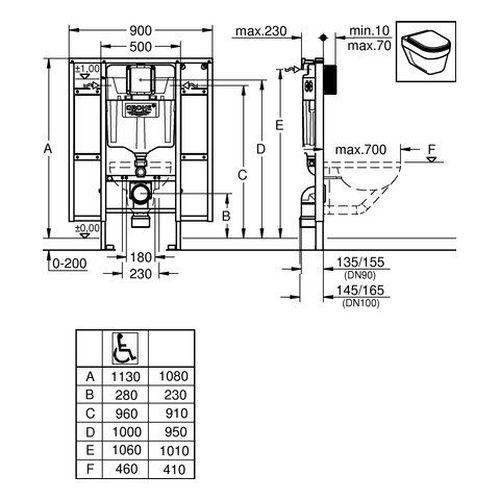 Rapid SL инсталляция для унитаза 90*6,5*113см