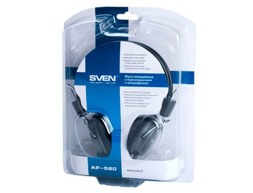 купить SVEN AP-520 Headphones with microphone, Headset: 20-20,000 Hz, Microphone: 50-16,000 Hz, 2.2m (casti cu microfon/наушники с микрофоном) в Кишинёве
