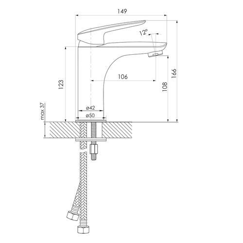 PRAHA new смеситель для умывальника высокий, хром, 35 мм (ванная комната)