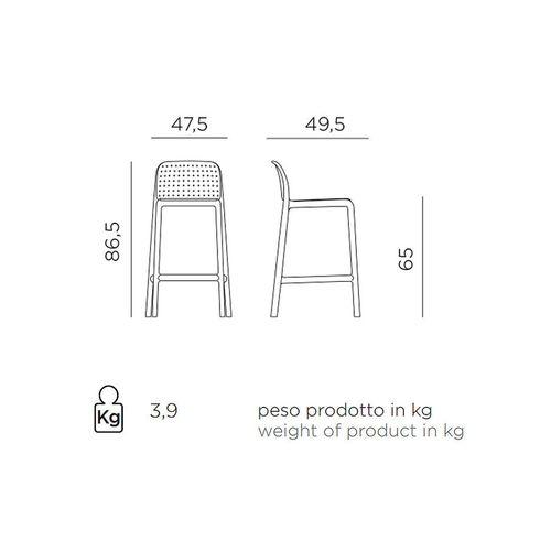 купить Стул полубарный Nardi LIDO MINI CELESTE 40345.39.000 (Стул полубарный для сада и террасы) в Кишинёве