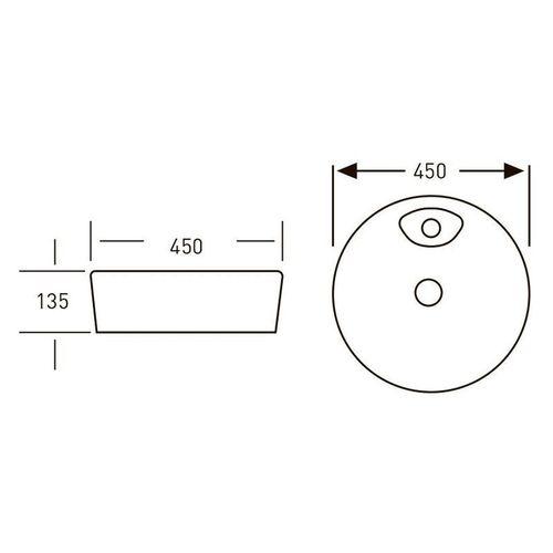 VOLLE умывальник 45*45*14см накладной с отверстием под смеситель, круглый