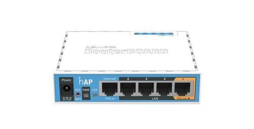 купить MikroTik RouterBOARD hAP,  Wireless Router, 2.4GHz Dual chain, AP/Bridge/Station/WDS, 802.11b/g/n, 1 WAN + 4 LAN, USB port for 3G/4G modem, internal antenna, Wireless chip model QCA9531 650MHz, RAM 64MB, PoE in, PoE out (Ether5), RouterOS в Кишинёве