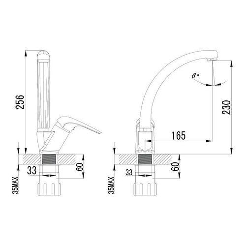 IMPRESE KRINICE смеситель для кухни, хром, 35 мм (кухня)