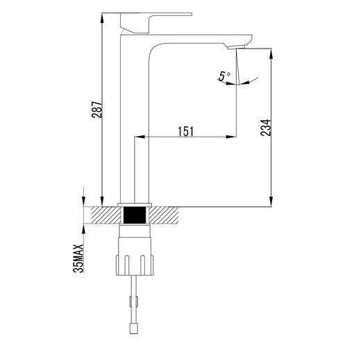 BILOVEC смеситель для умывальника высокий, хром, 35 мм  (ванная)