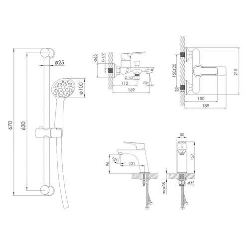 KUCERA набор для ванны (05105+10105+штанга R670SD) (ванная комната)