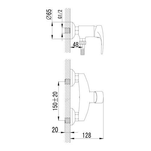 JESENIK смеситель для душа, хром, 35 мм (ванная комната)