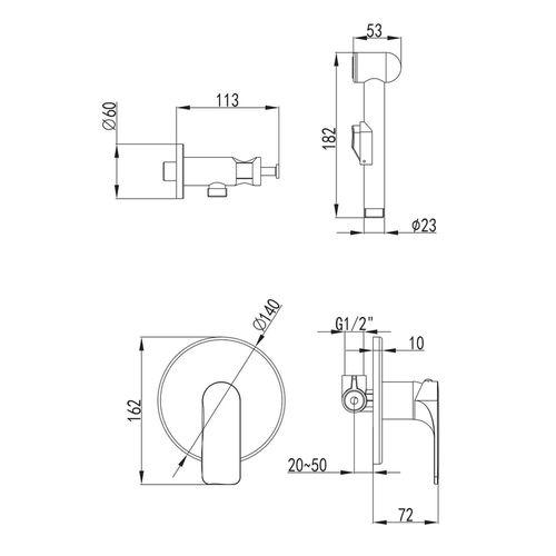 BILINA набор (смеситель скрытого монтажа с гигиеническим душем)