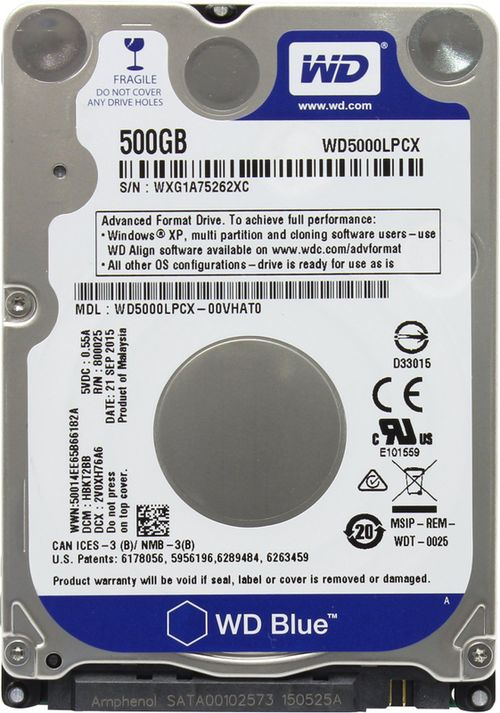 "купить 2.5"" HDD 500GB  Western Digital WD5000LPCX, Blue™, 5400rpm, 16MB, 7mm, SATAIII в Кишинёве"