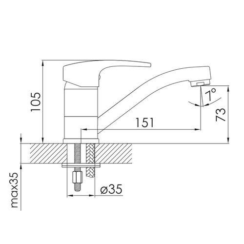 JESENIK смеситель для кухни, хром, 35 мм (кухня)