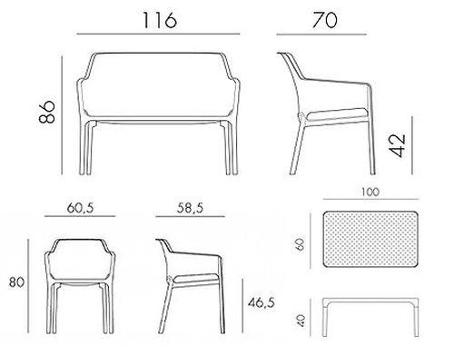 купить Set mobila de terasa NARDI NET BENCH + 2 fotolii NET + Masa NET TABLE 100 + Saltele scaune в Кишинёве