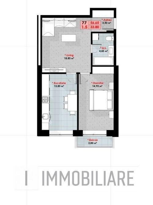 Apartamente cu 1 cameră+living, sect. Ciocana, str. Bucovinei.