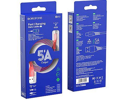 купить Borofone cable BU13 Craft Type-C 5A fast charging data cable Red, 1.2m, nylon, 716941 в Кишинёве