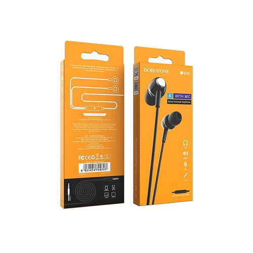 купить Borofone BM36 black (709691) Acura Universal earphones with mic, Speaker outer diameter 10MM, cable length 1.2m, Microphone, adapted to control Apple and Android в Кишинёве