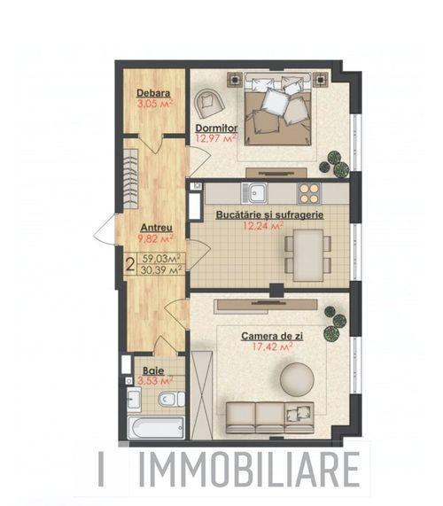 Apartament cu 2 camere, sect. Buiucani, str. Ion Luca Caragiale.