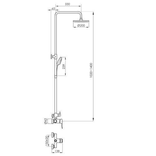 IMPRESE T-15135 Обзор товара NOVA VLNA система душевая (смеситель для душа, верхний и ручной душ, 3 режима, шланг 1,5м) (ванная)