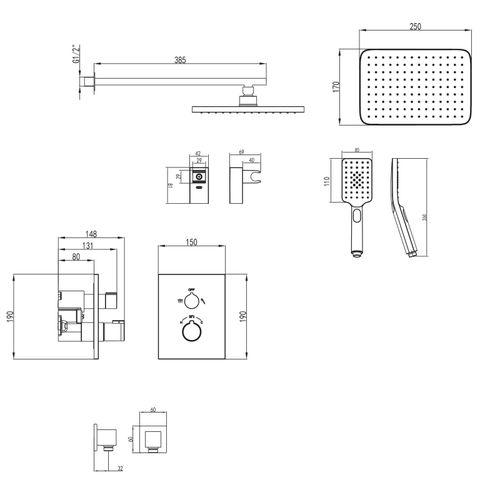 CENTRUM комплект для ванны/душа (смеситель с переключ.,верхн.душ, ручной душ,шланг, шланг. подсоед) (ванная комната)