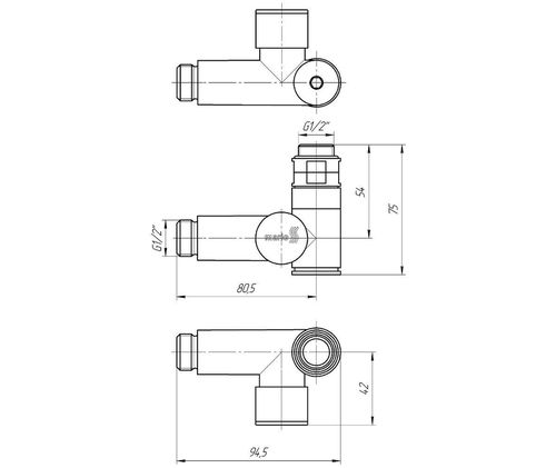 Кран угловой под ТЭН, G1/2 комплект 2шт