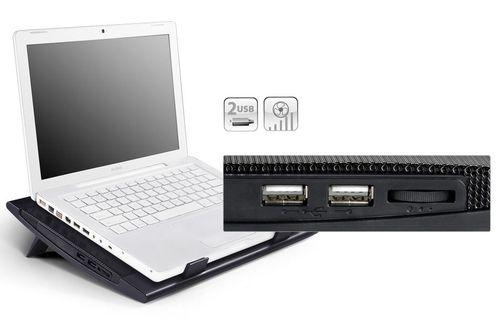 "купить DEEPCOOL ""WIND PAL FS"", Notebook Cooling Pad up to 15.6"", 2 fan - 140mm  with fan speed control button, 700-1200rpm, <21.5~26.5 dBA, 115CFM, 2 viewing angles adjustable, 4x USB ports, Portable & slim design, Metal Mesh Panel, Black в Кишинёве"