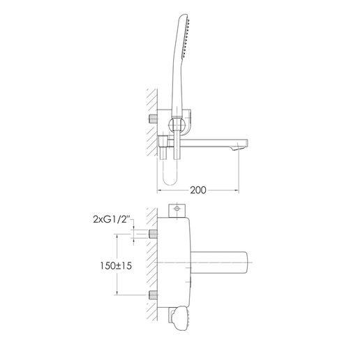 SMART CLICK смеситель для ванны, 2 режима, хром (ванная комната)