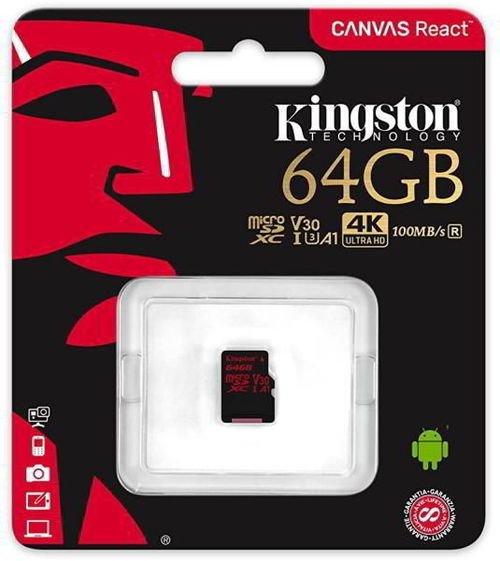 cumpără 64GB microSD Class10 UHS-I U3 (V30)  Kingston Canvas React, Ultimate, 633x, Read: 100Mb/s, Write: 70Mb/s, Water/Shock and vibration/Temperature proof, Protected from airport x-rays în Chișinău