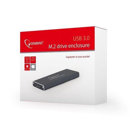 купить M.2 SSD External case Gembird EE2280-U3C-01, Type 2230, 2242, 2260, 2280 (for 22 mm), USB 3.0 Micro-B  interface, Black, 102mm x 37mm x 10mm в Кишинёве