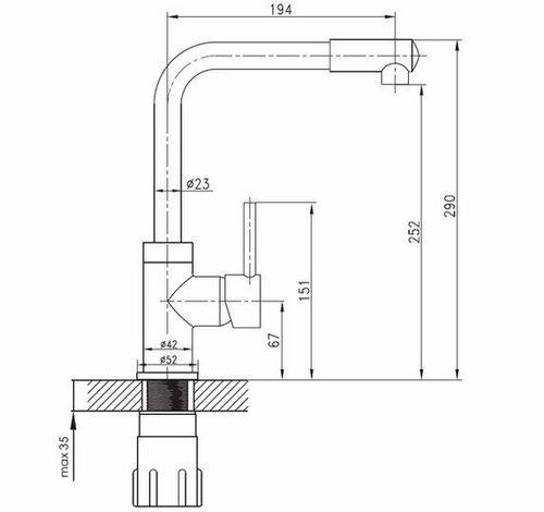 IMPRESE LOTTA смеситель для кухни, высокий нос, сатин, 35 мм (кухня)